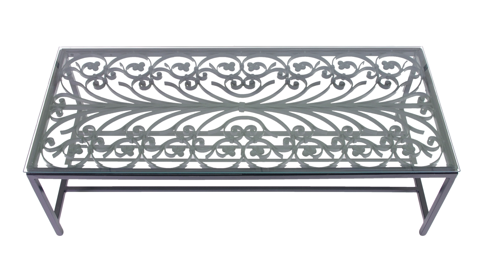 French Wrought Iron Window Guard Mounted as a Coffee Table, Mid 19th c.