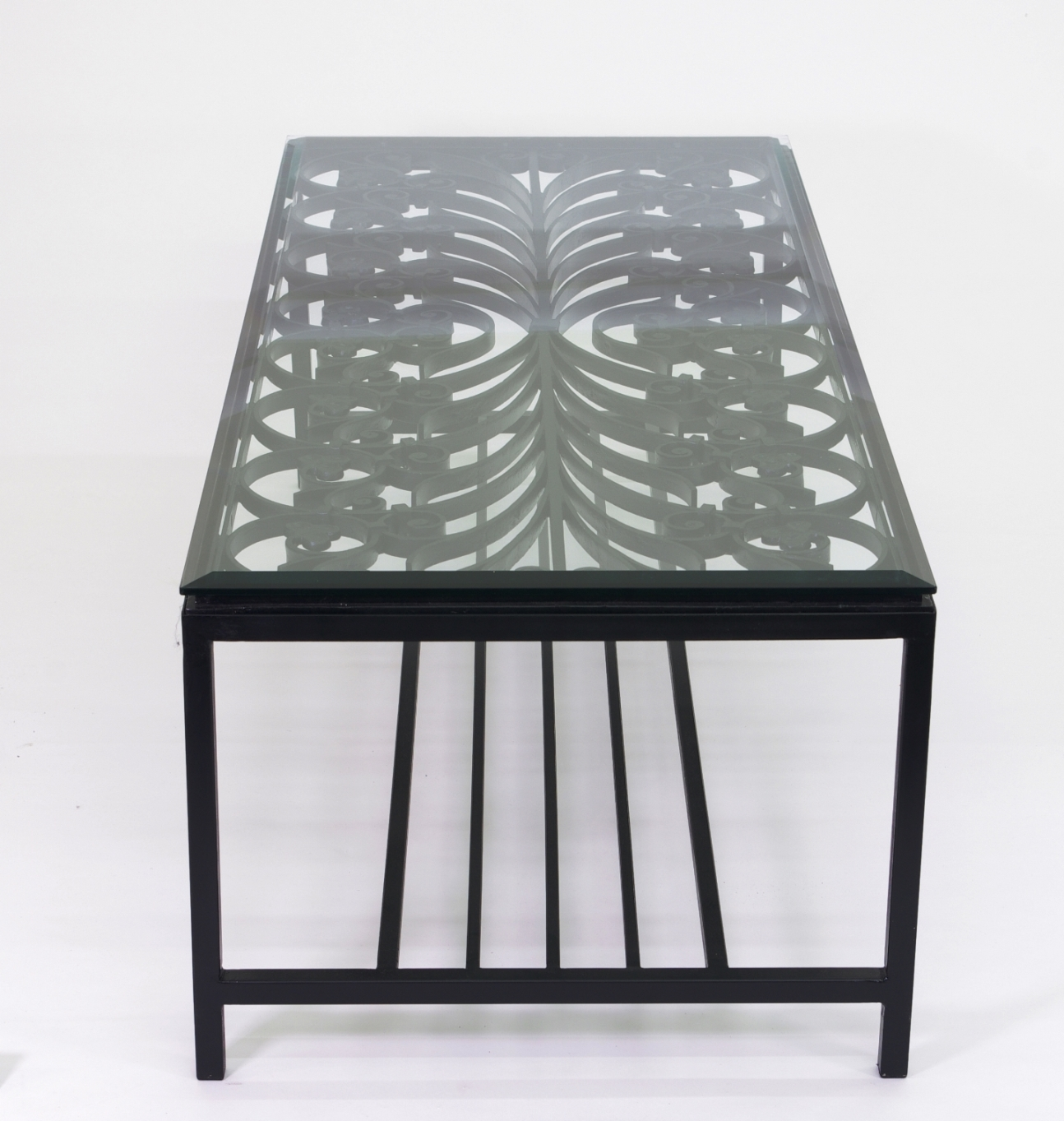 View 3: French Wrought Iron Window Guard Mounted as a Coffee Table, Mid 19th c.