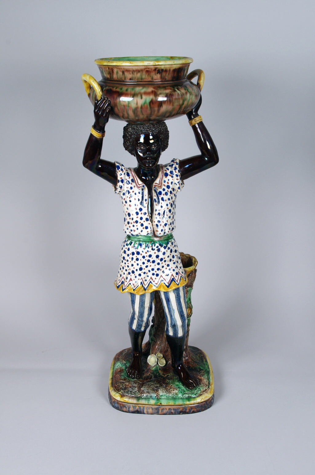 View 2: Pair of Majolica Blackamoor Jardinieres