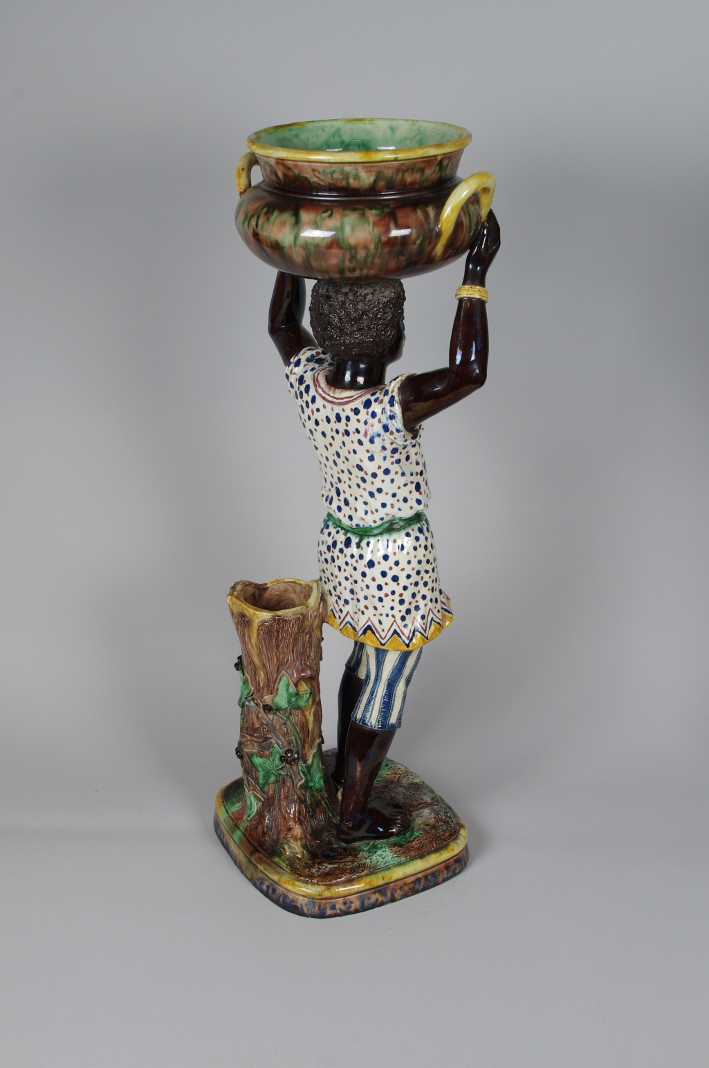 View 3: Pair of Majolica Blackamoor Jardinieres