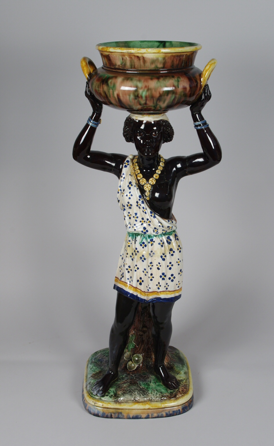 View 4: Pair of Majolica Blackamoor Jardinieres