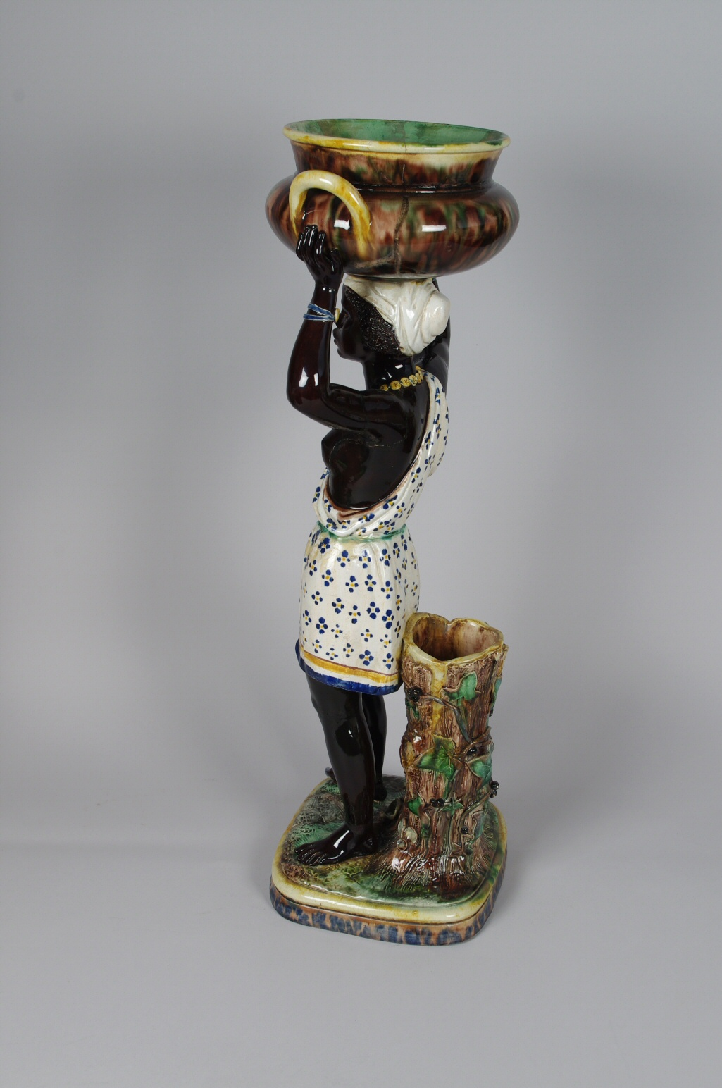 View 5: Pair of Majolica Blackamoor Jardinieres