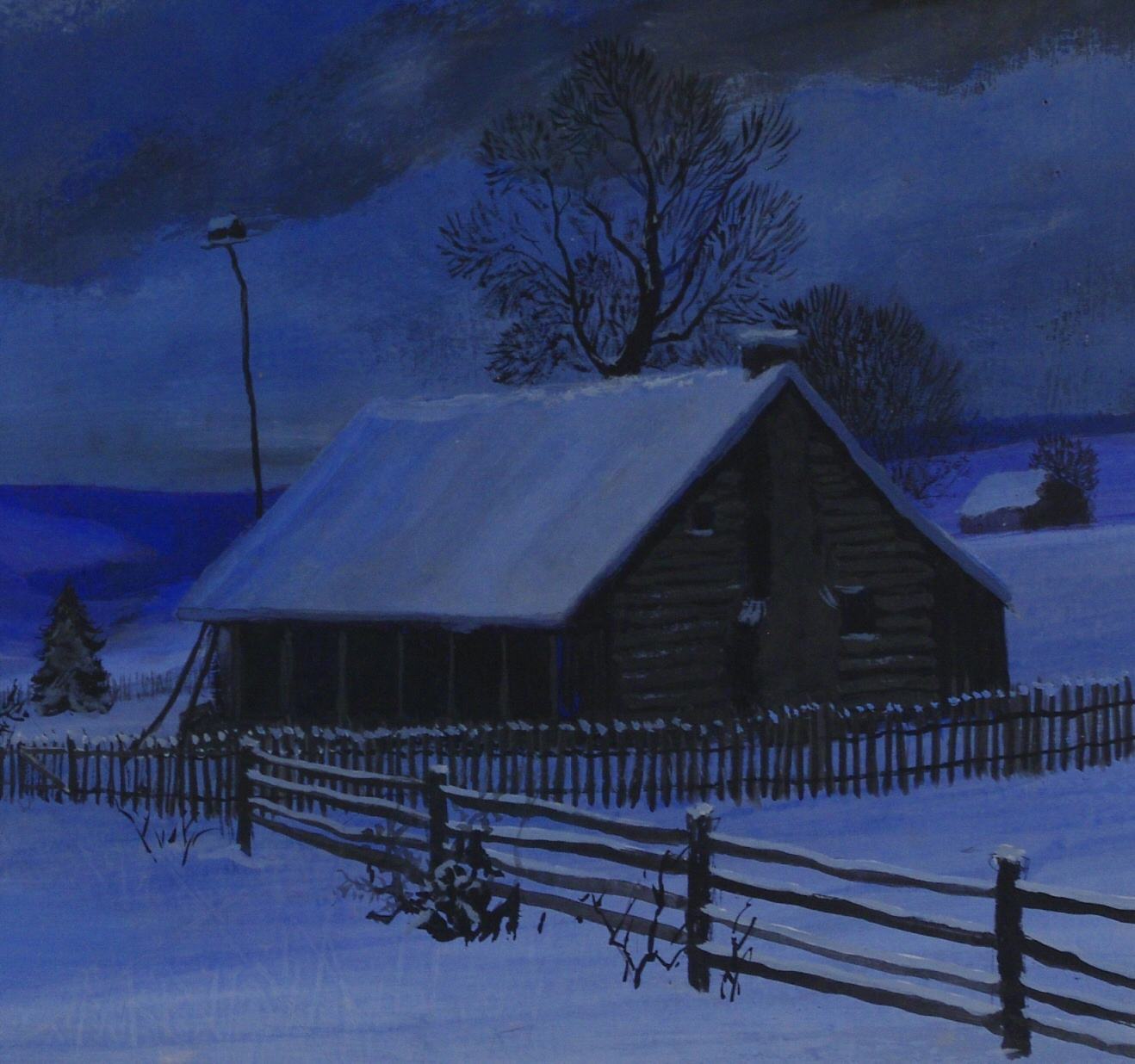 "View 2: Frederick Rushing Roe (1883- 1947) American, ""Winter Night"""