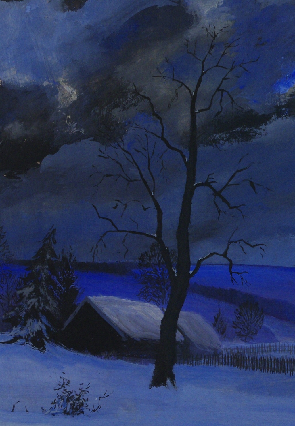 "View 3: Frederick Rushing Roe (1883- 1947) American, ""Winter Night"""