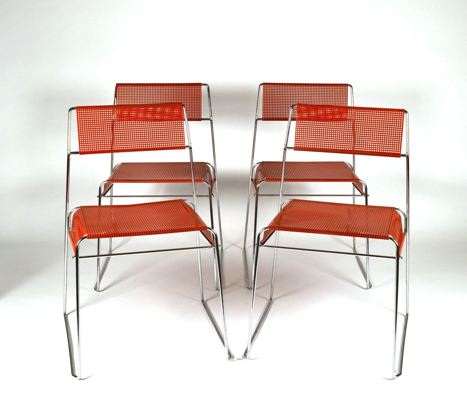 Set of Four Metal Stacking Chairs