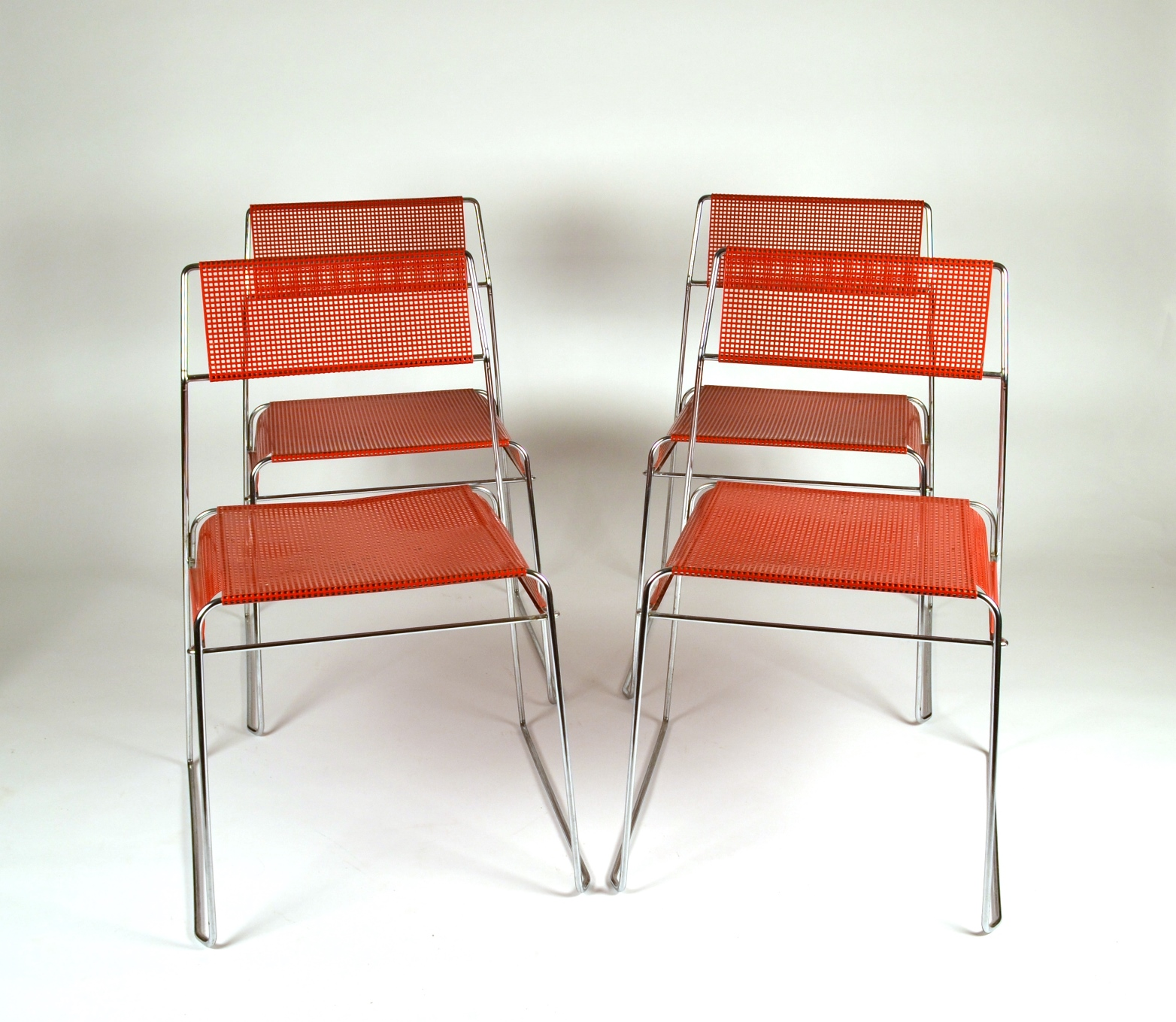 View 2: Set of Four Metal Stacking Chairs