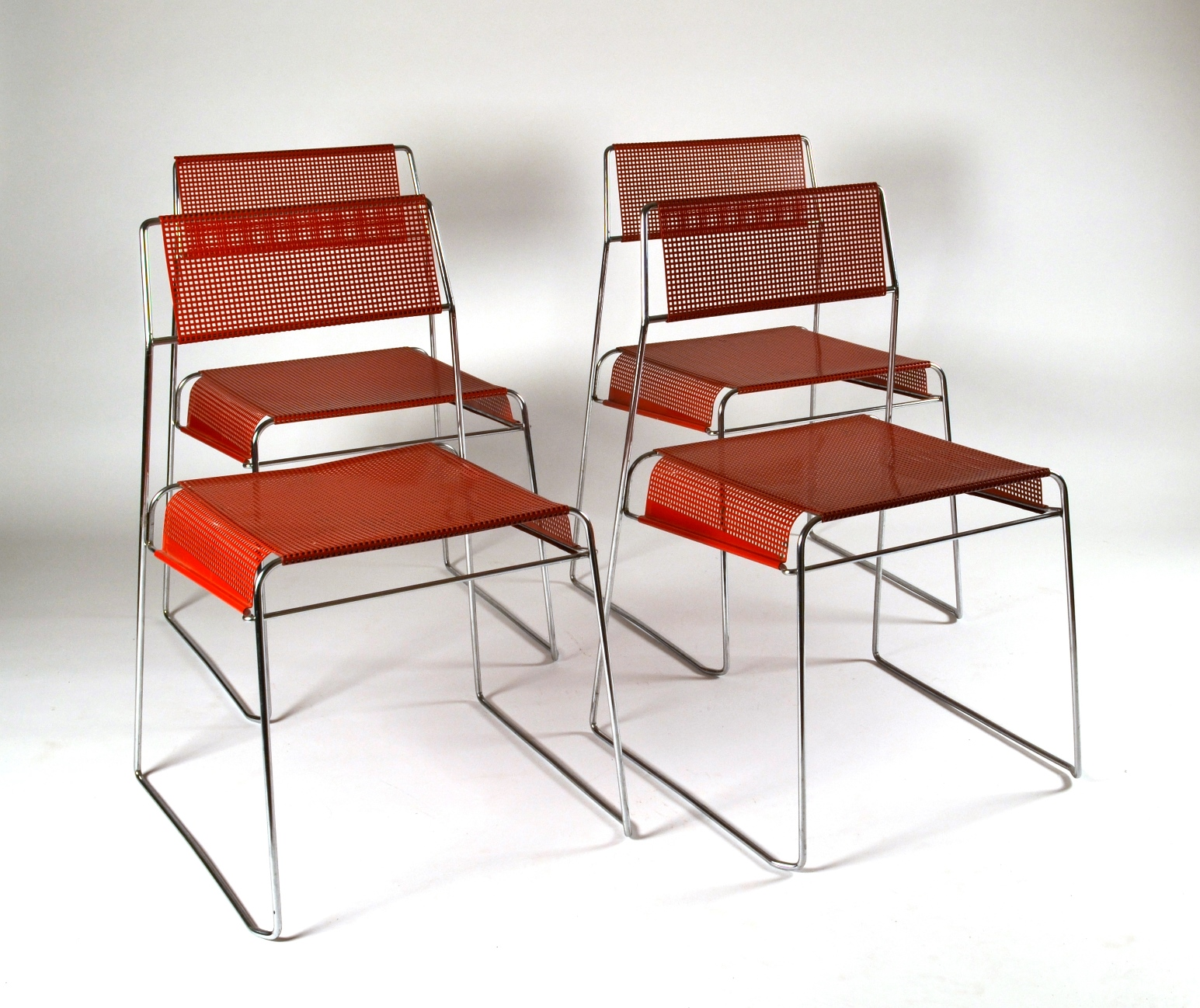 View 3: Set of Four Metal Stacking Chairs