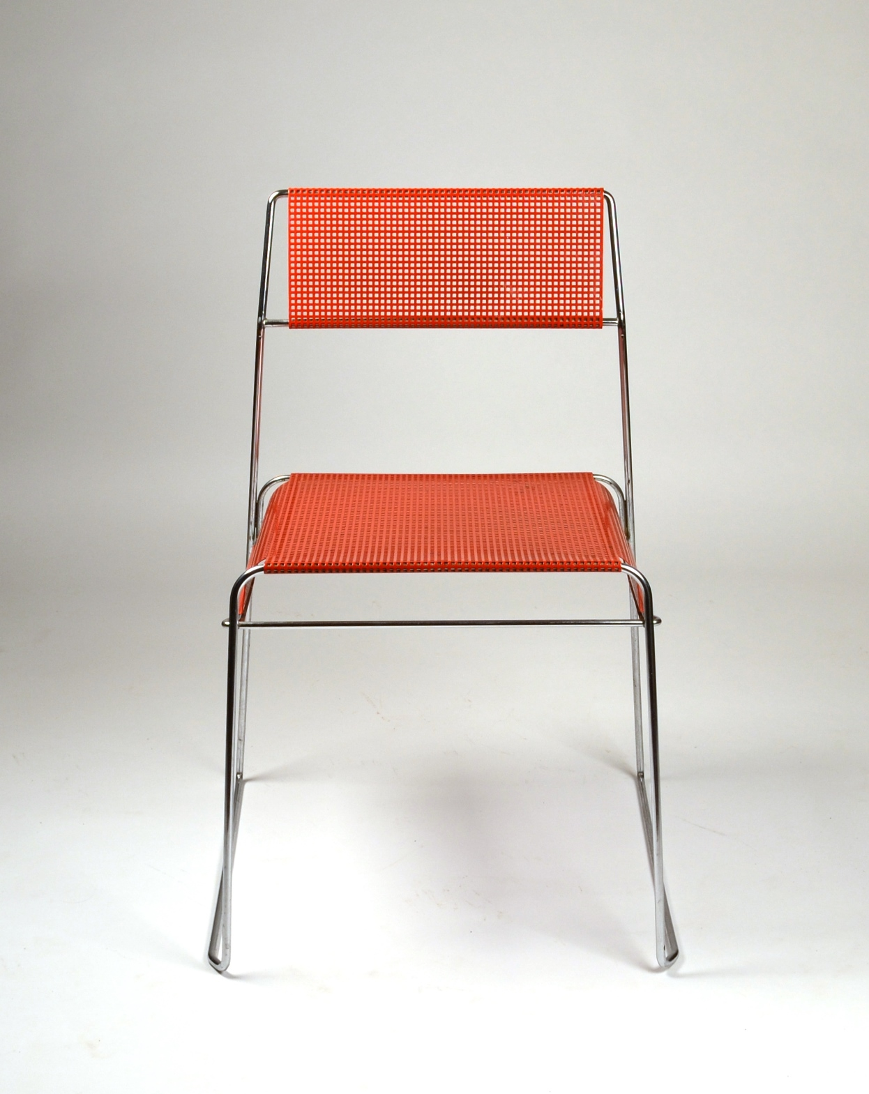 View 7: Set of Four Metal Stacking Chairs