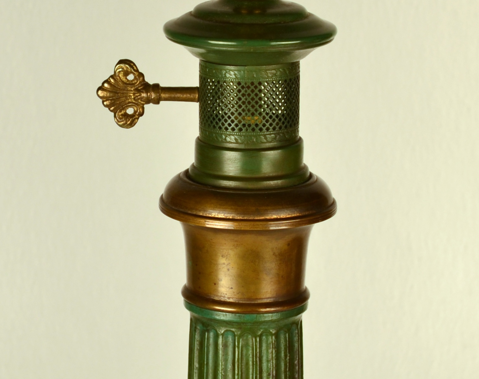 View 3: Pair of Green Tole Column Lamps