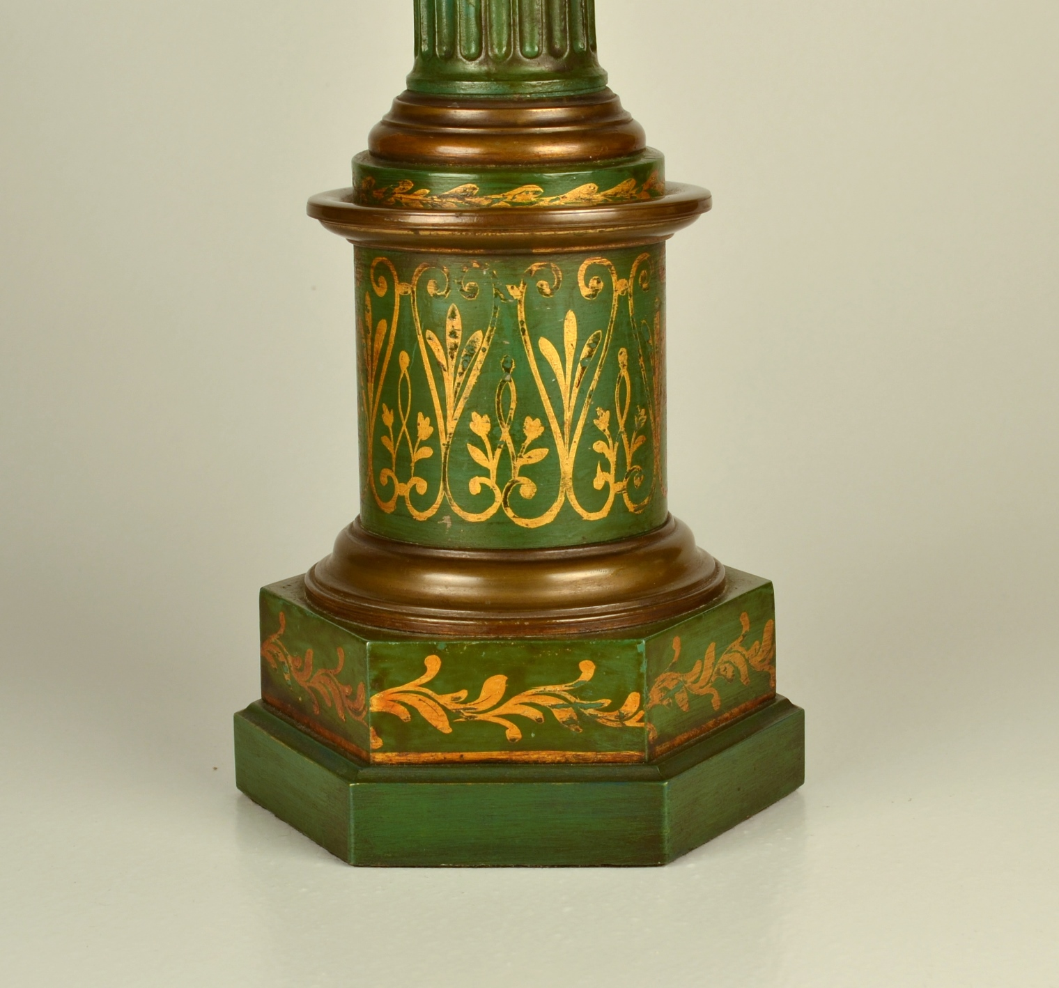 View 4: Pair of Green Tole Column Lamps
