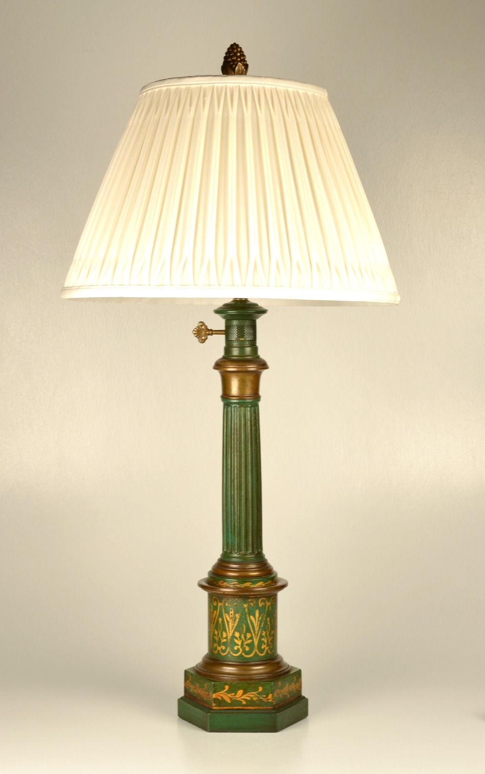 View 5: Pair of Green Tole Column Lamps