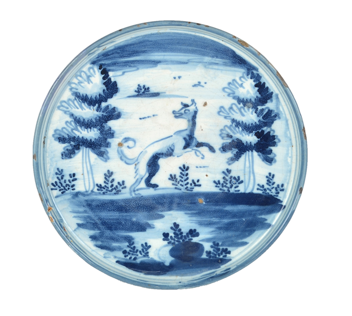 View 1: Delightful Blue and White Spanish Majolica Tazza