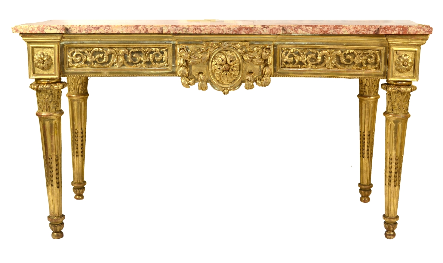 View 2: Fine Italian Carved and Giltwood Neoclassical Console Table