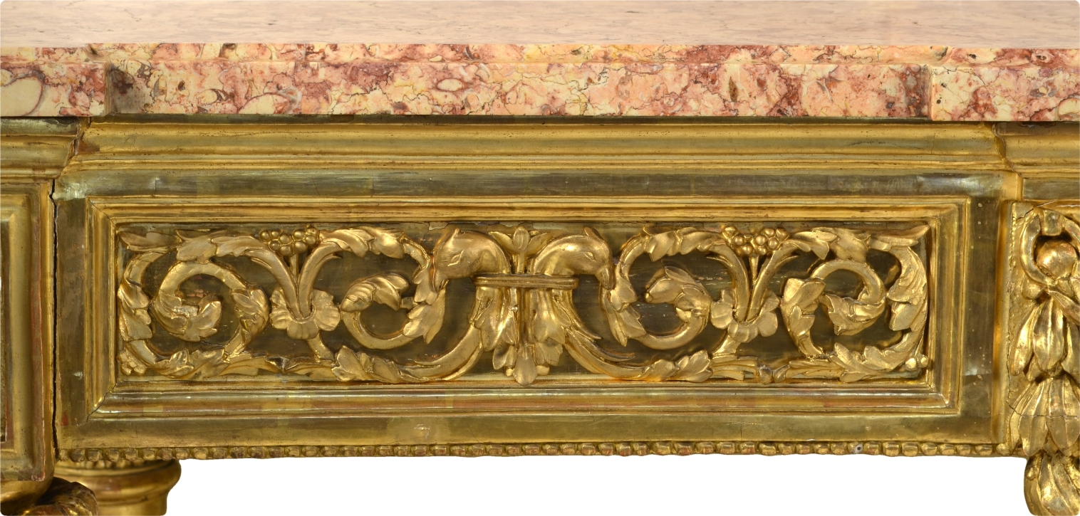 View 7: Fine Italian Carved and Giltwood Neoclassical Console Table