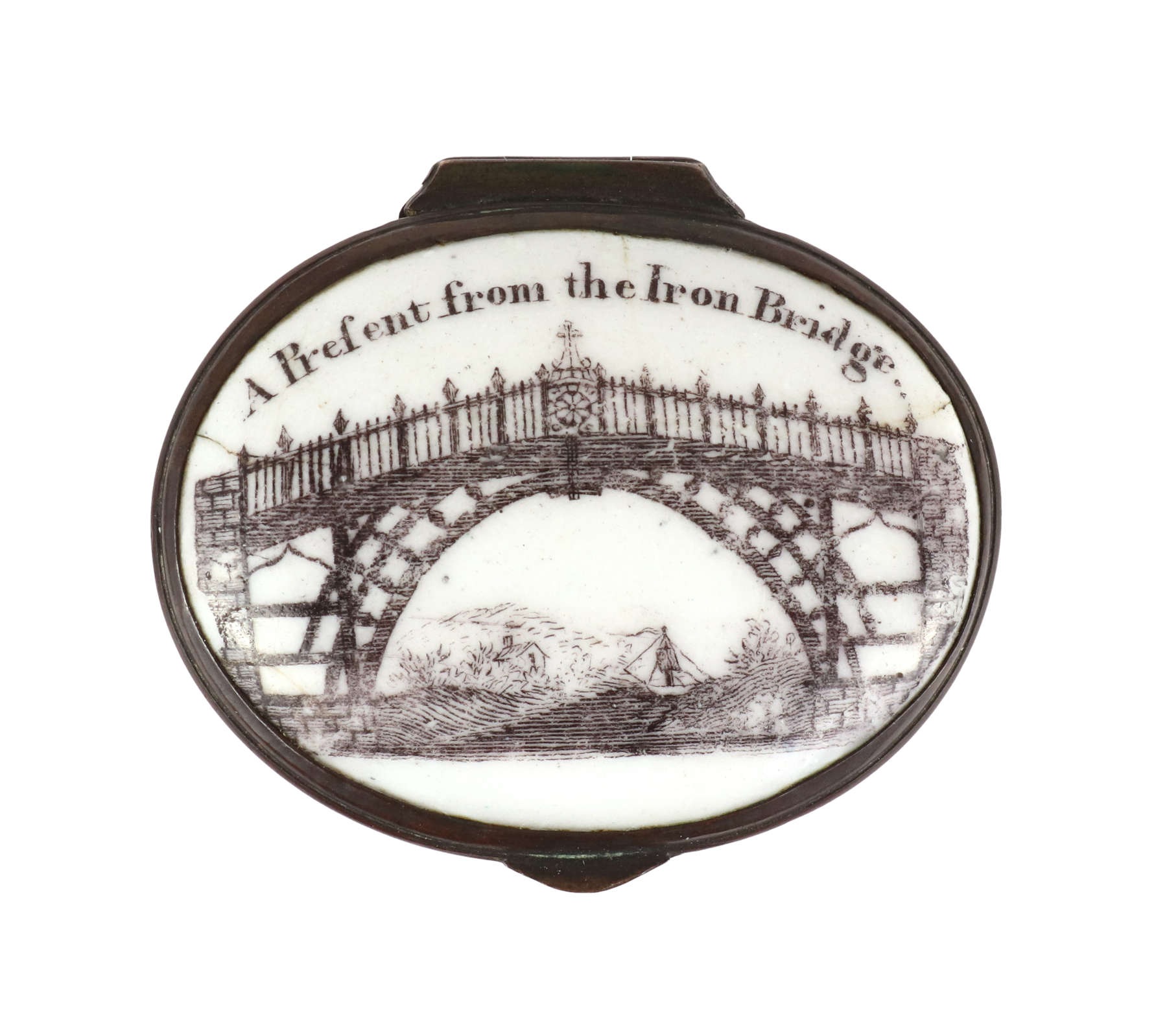 "Enamel Patch Box, ""A Present from the Iron Bridge"" c. 1790"