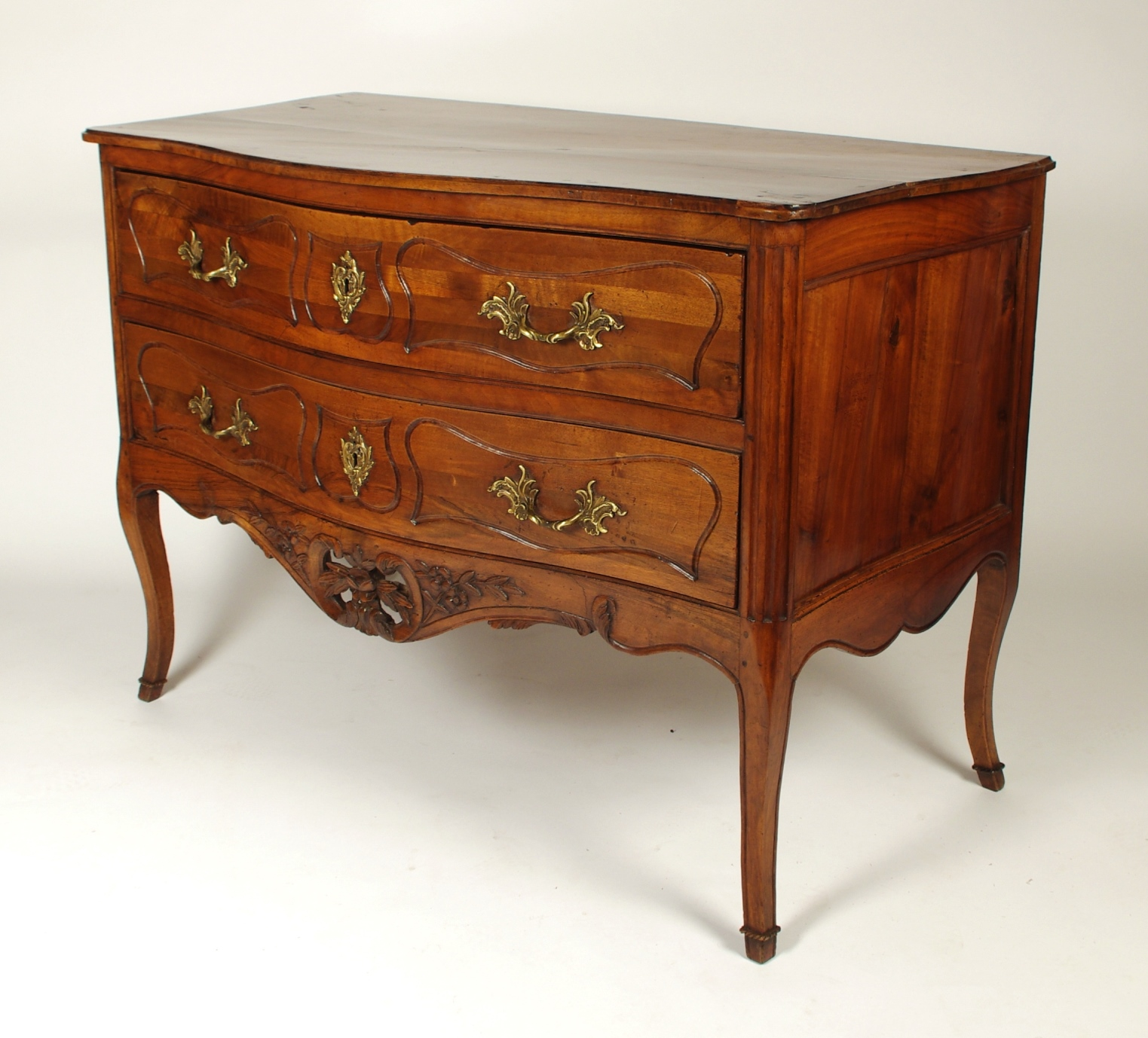 View 3: Louis XV Walnut Serpentine Chest of Two Drawers