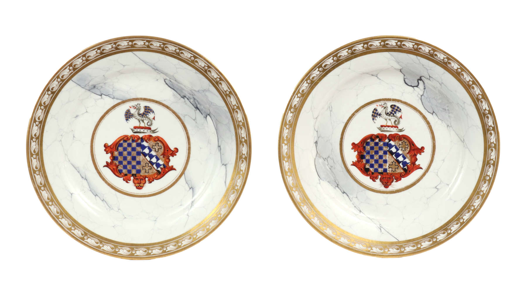 Pair of Barr, Flight & Barr Worcester Armorial Plates, c. 1810