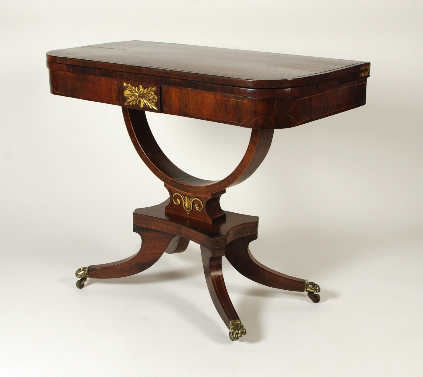 View 2: Regency Rosewood Card Table with Rare Palm Cross Banding