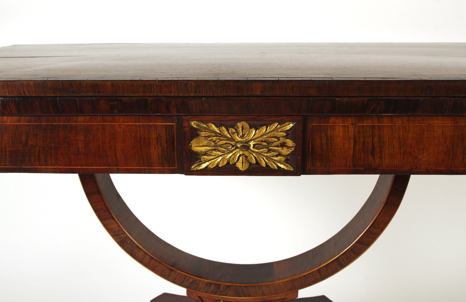 View 4: Regency Rosewood Card Table with Rare Palm Cross Banding