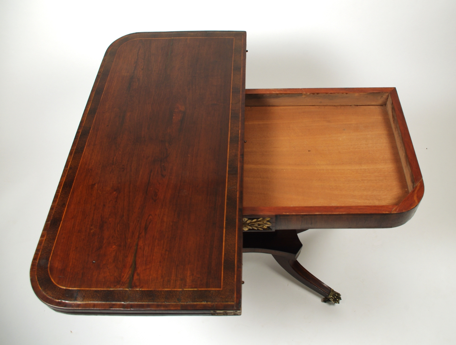 View 7: Regency Rosewood Card Table with Rare Palm Cross Banding