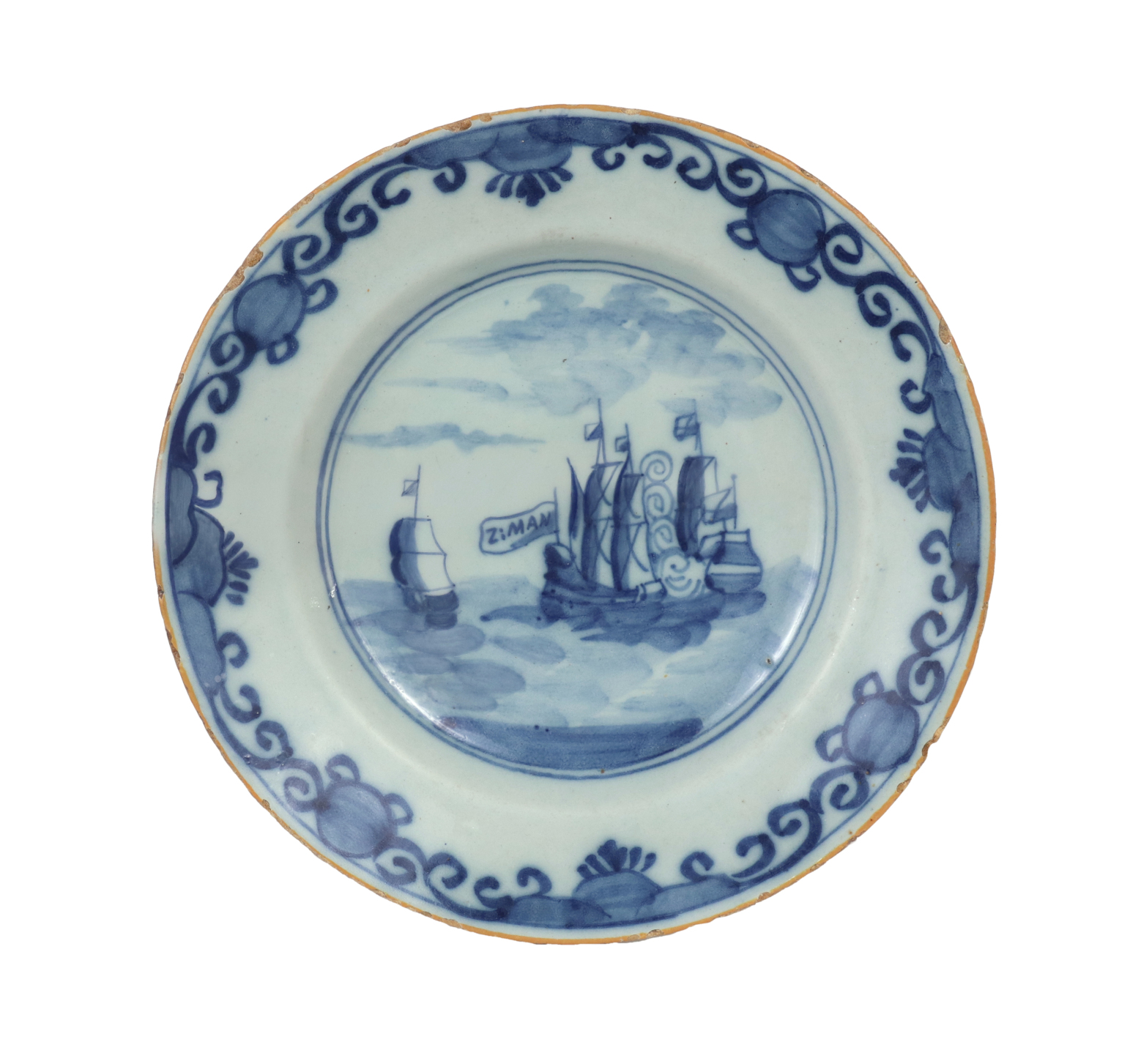 Delft Plate Commerating the Battle of Dogger Bank, c. 1781