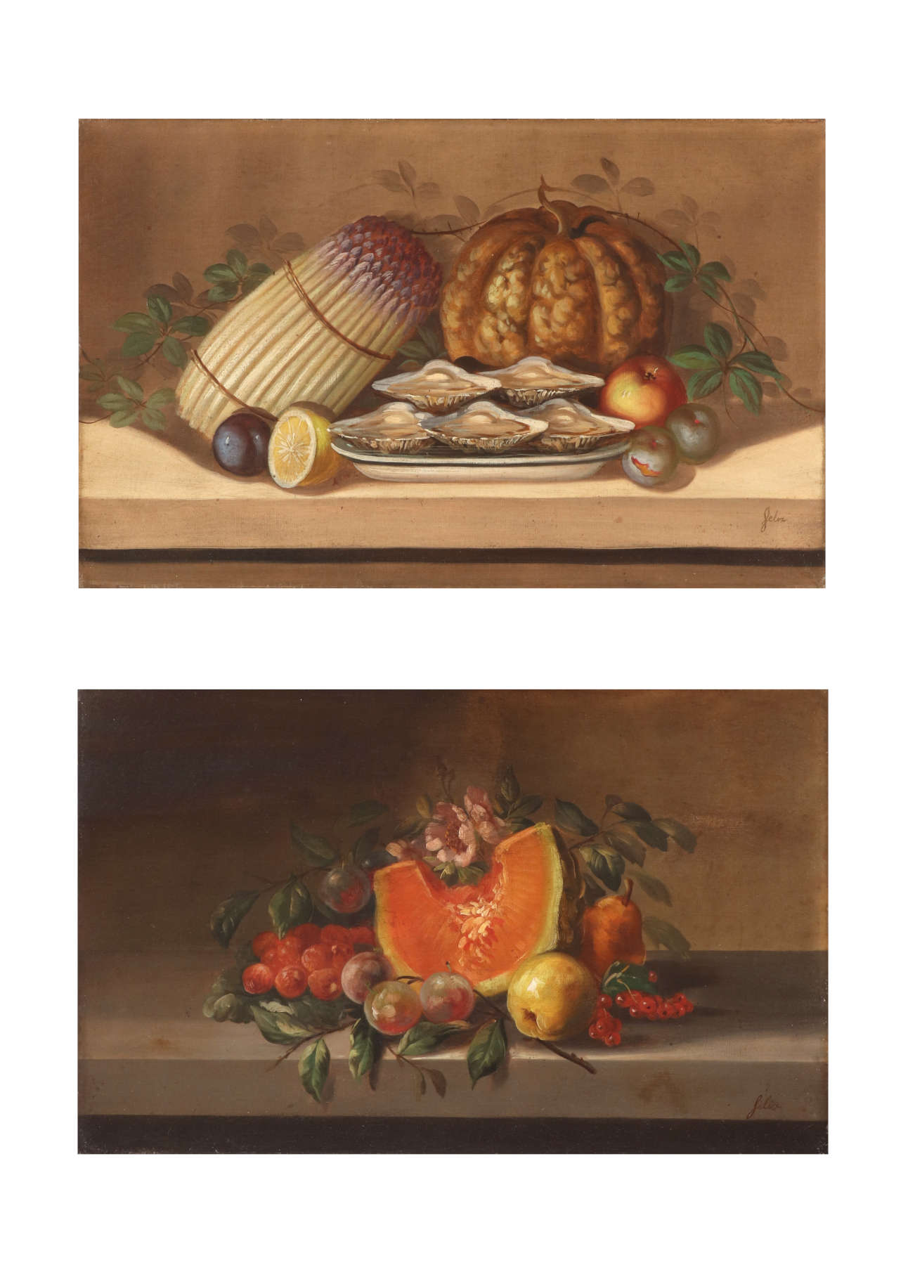 Juliette Felix (1869- ?) French, Pair of Still Lifes