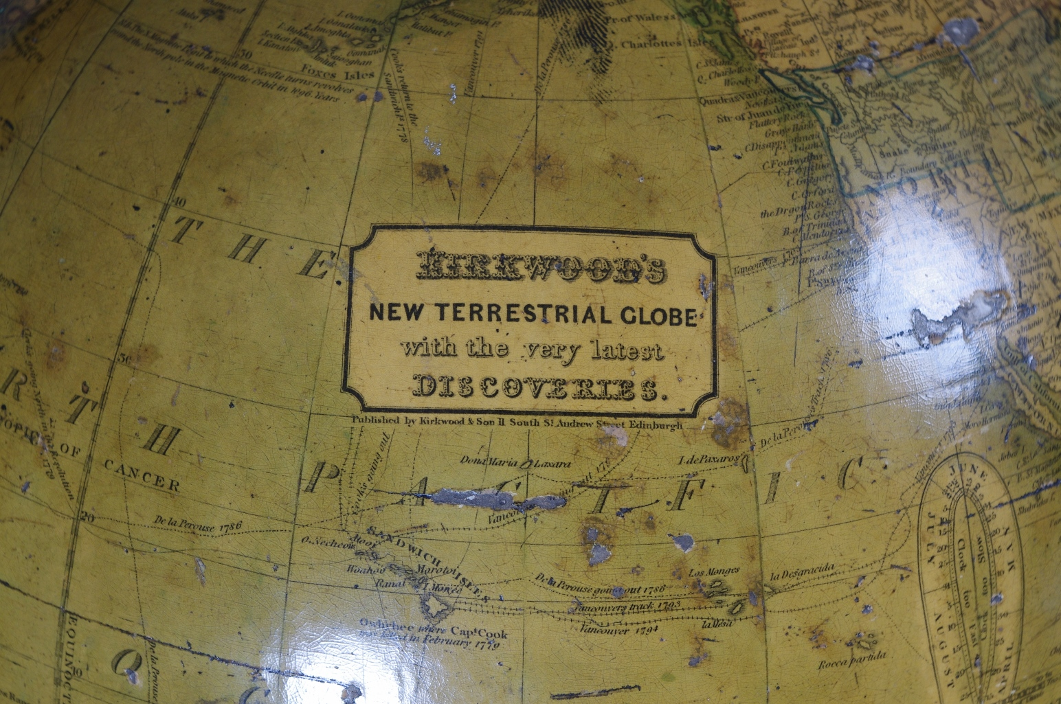 "12"" Terrestrial Globe by Kirkwood of Edinburgh"