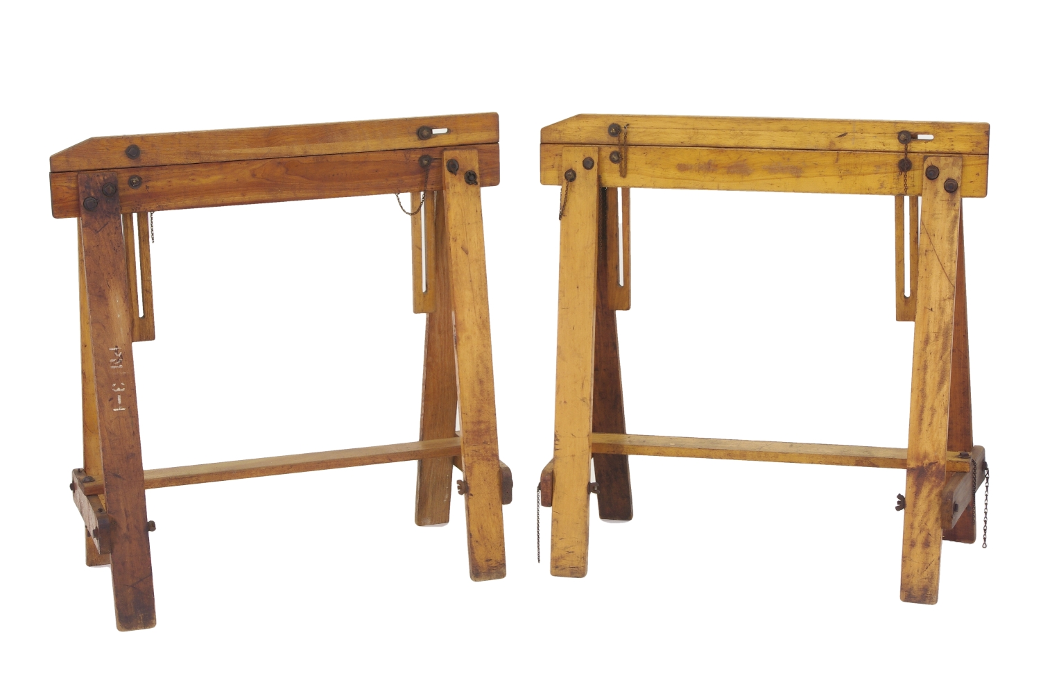 View 1: Pair of Adjustable Sawhorses c. 1920