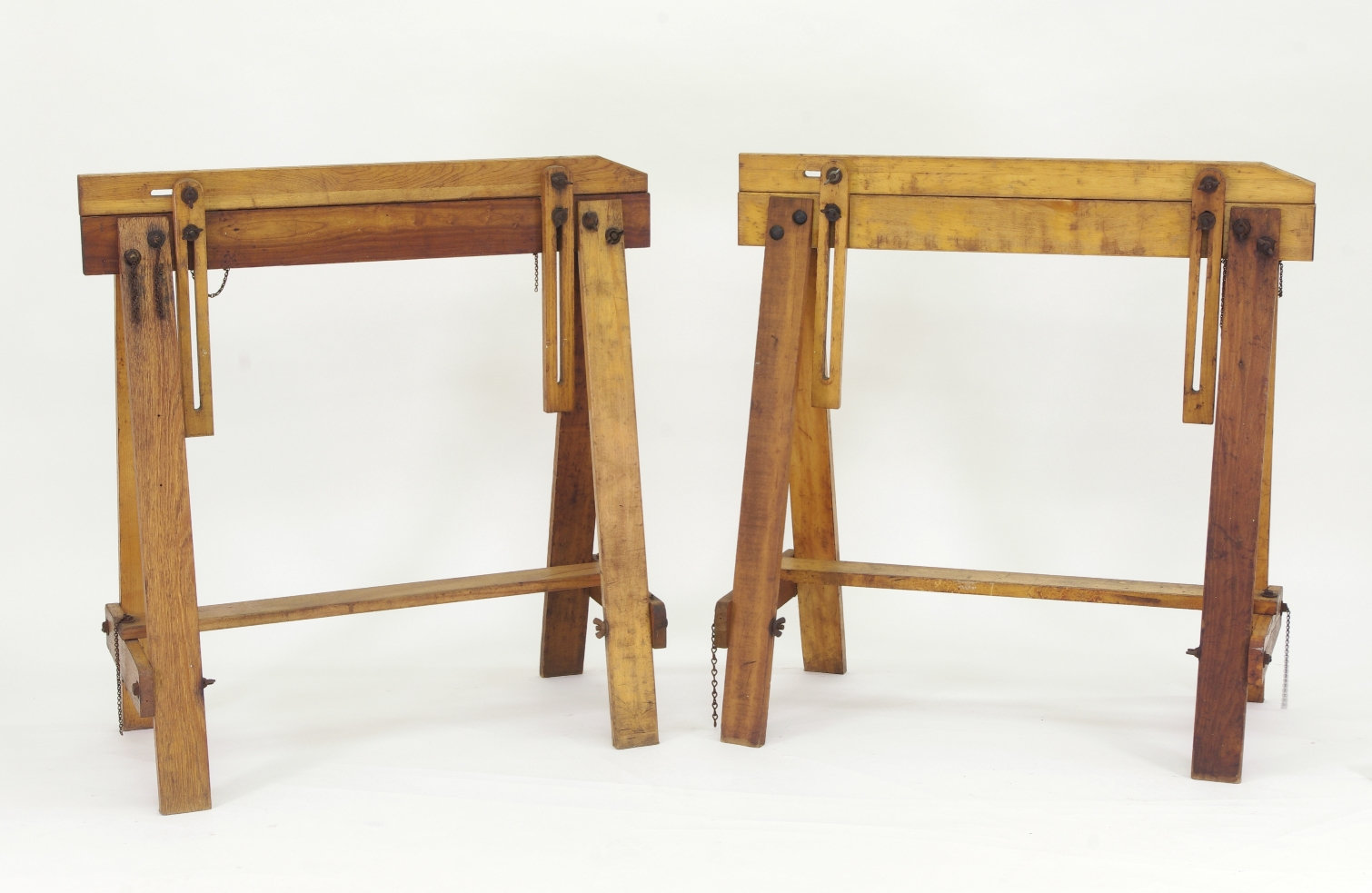 Pair of Adjustable Sawhorses c. 1920