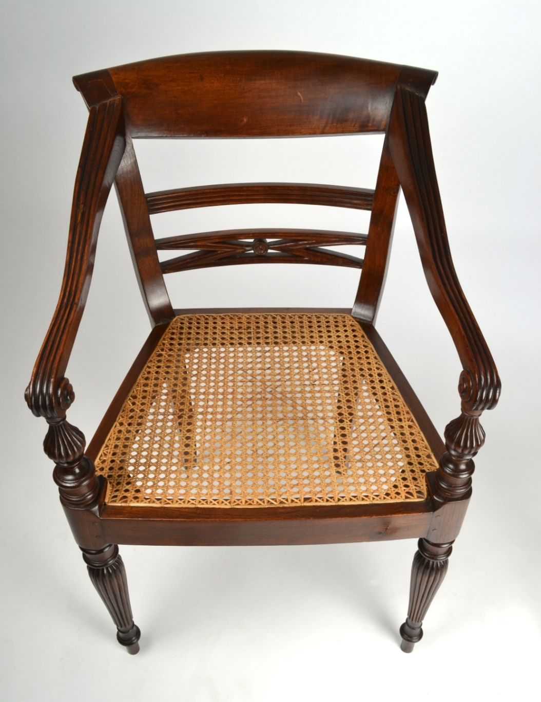 View 6: Four British Colonial Hardwood Open Armchairs