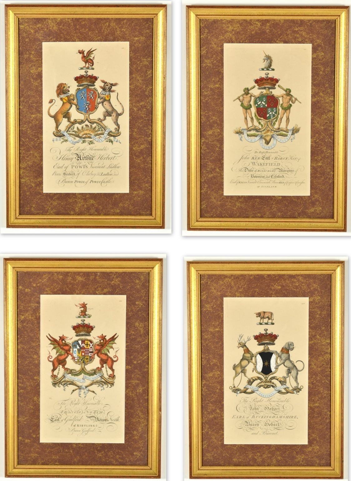 Set of Four Hand Colored Armorial Engravings, c. 1764