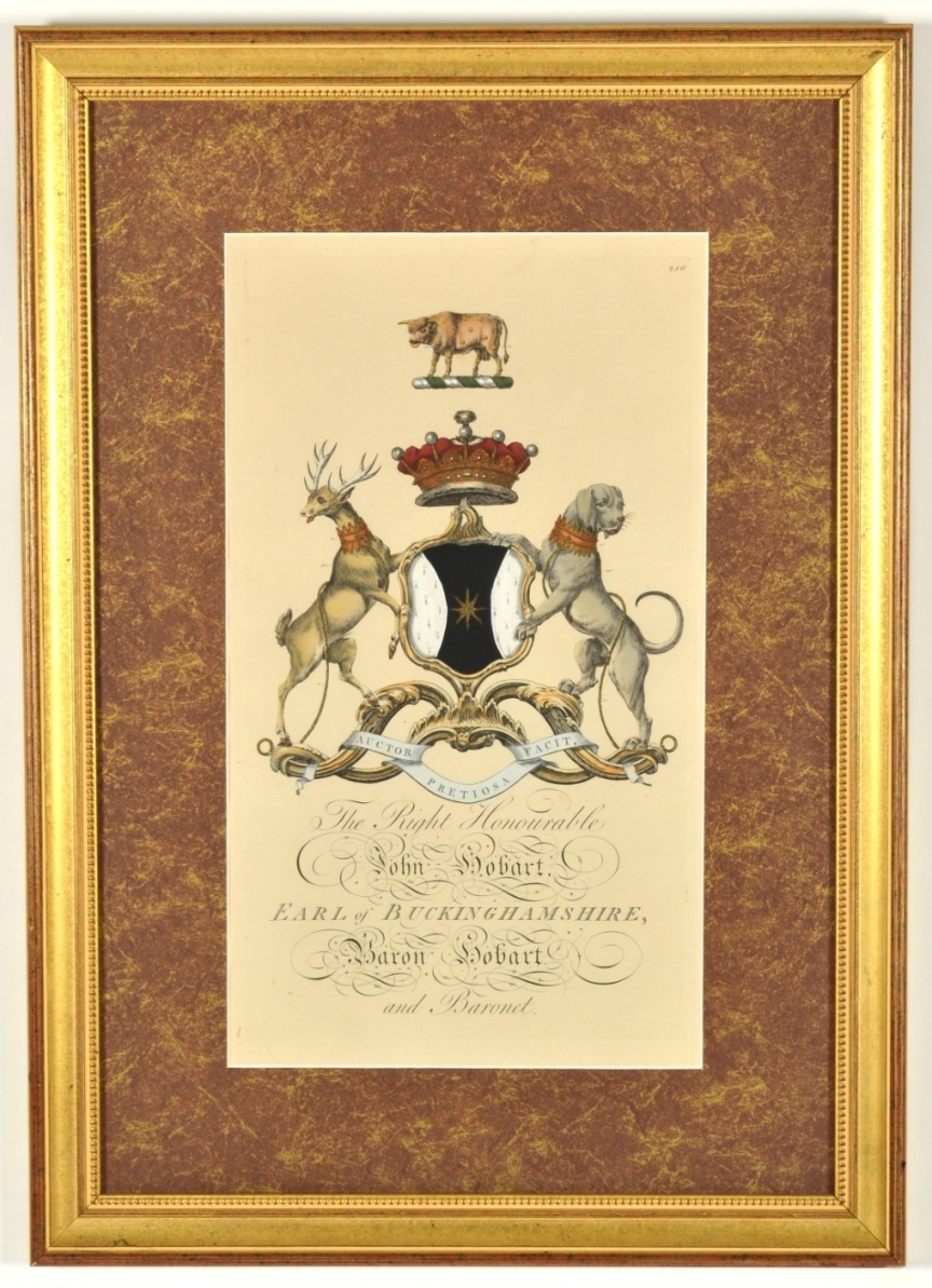 View 2: Set of Four Hand Colored Armorial Engravings, c. 1764