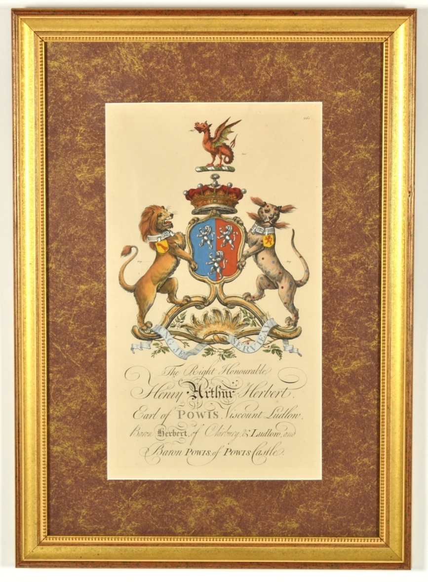 View 3: Set of Four Hand Colored Armorial Engravings, c. 1764