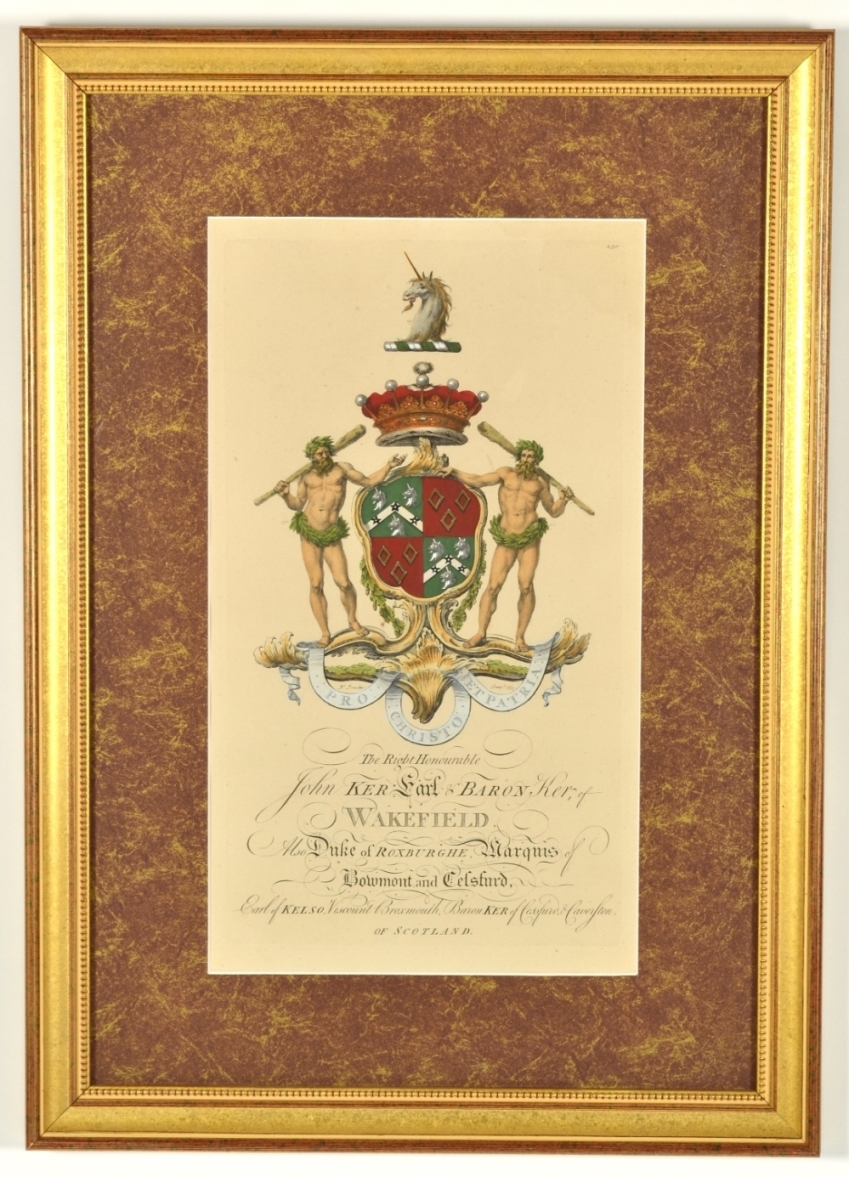 View 4: Set of Four Hand Colored Armorial Engravings, c. 1764
