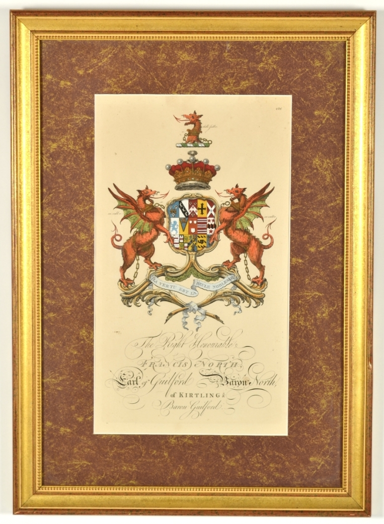 View 5: Set of Four Hand Colored Armorial Engravings, c. 1764