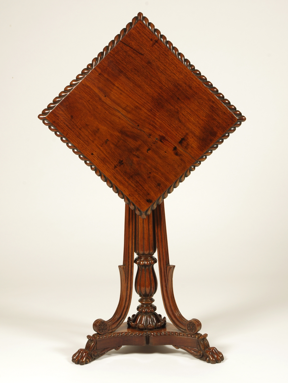 View 8: British Colonial Padouk Wood Side Table