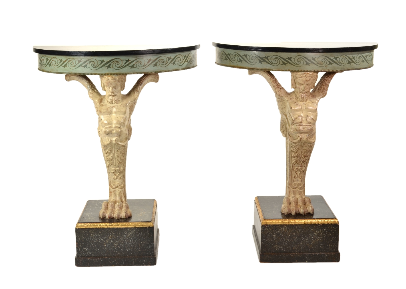 View 1: Pair of Carved and Painted Demilune Console Tables, 20th c.