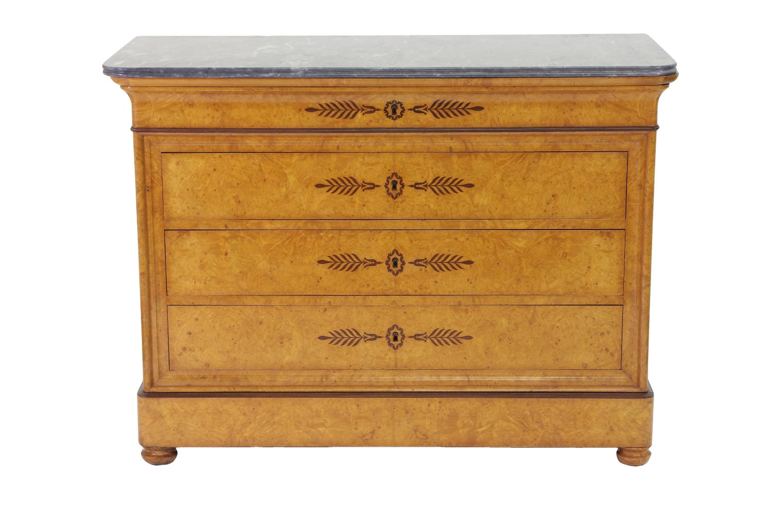 View 1: French Restauration Burr Ash Chest of Drawers, c. 1825
