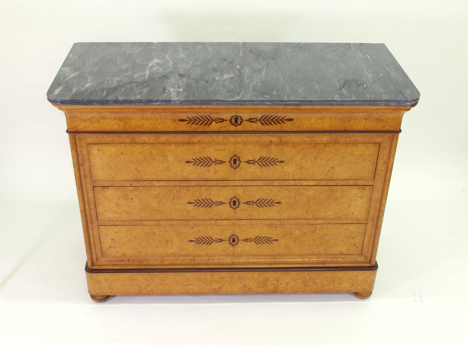 View 2: French Restauration Burr Ash Chest of Drawers, c. 1825