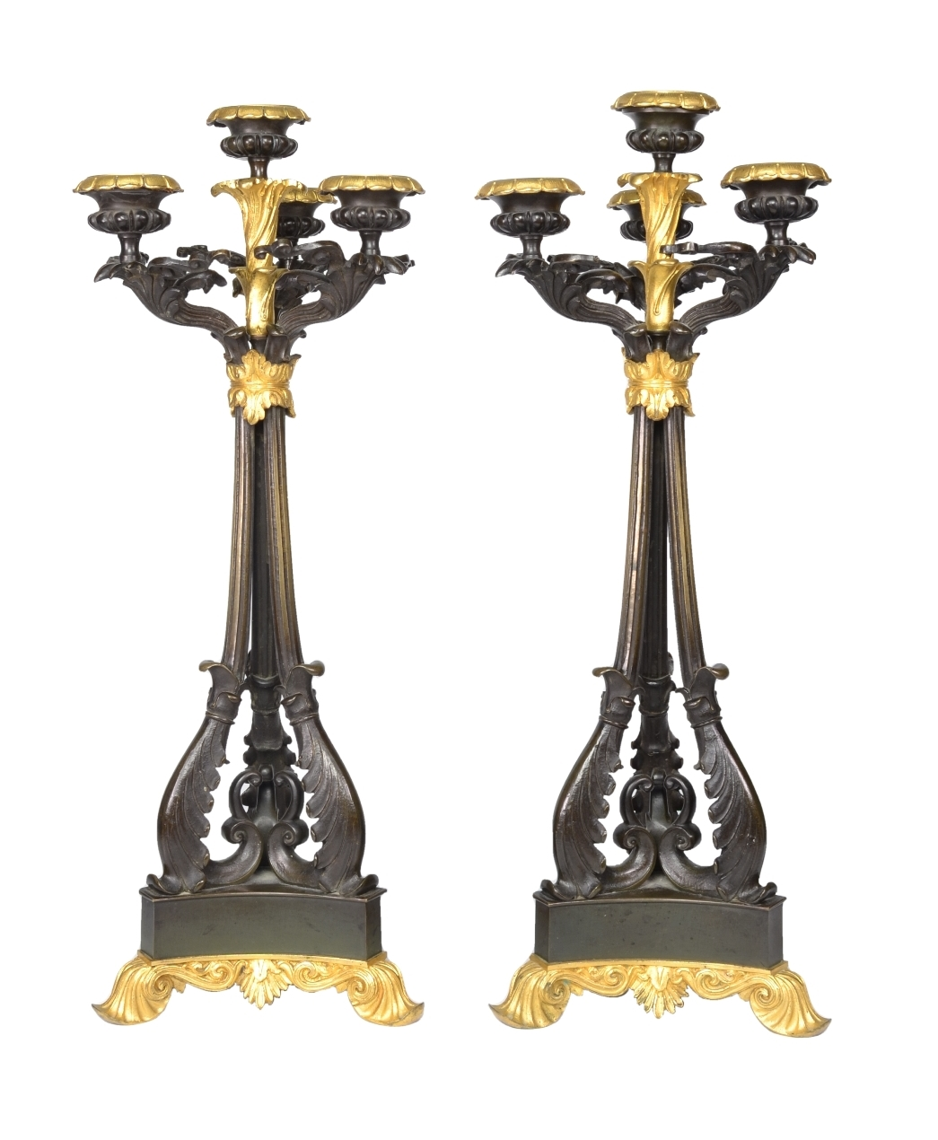 Pair of Louis-Philippe Bronze and Ormolu Candelabra, c. 1840
