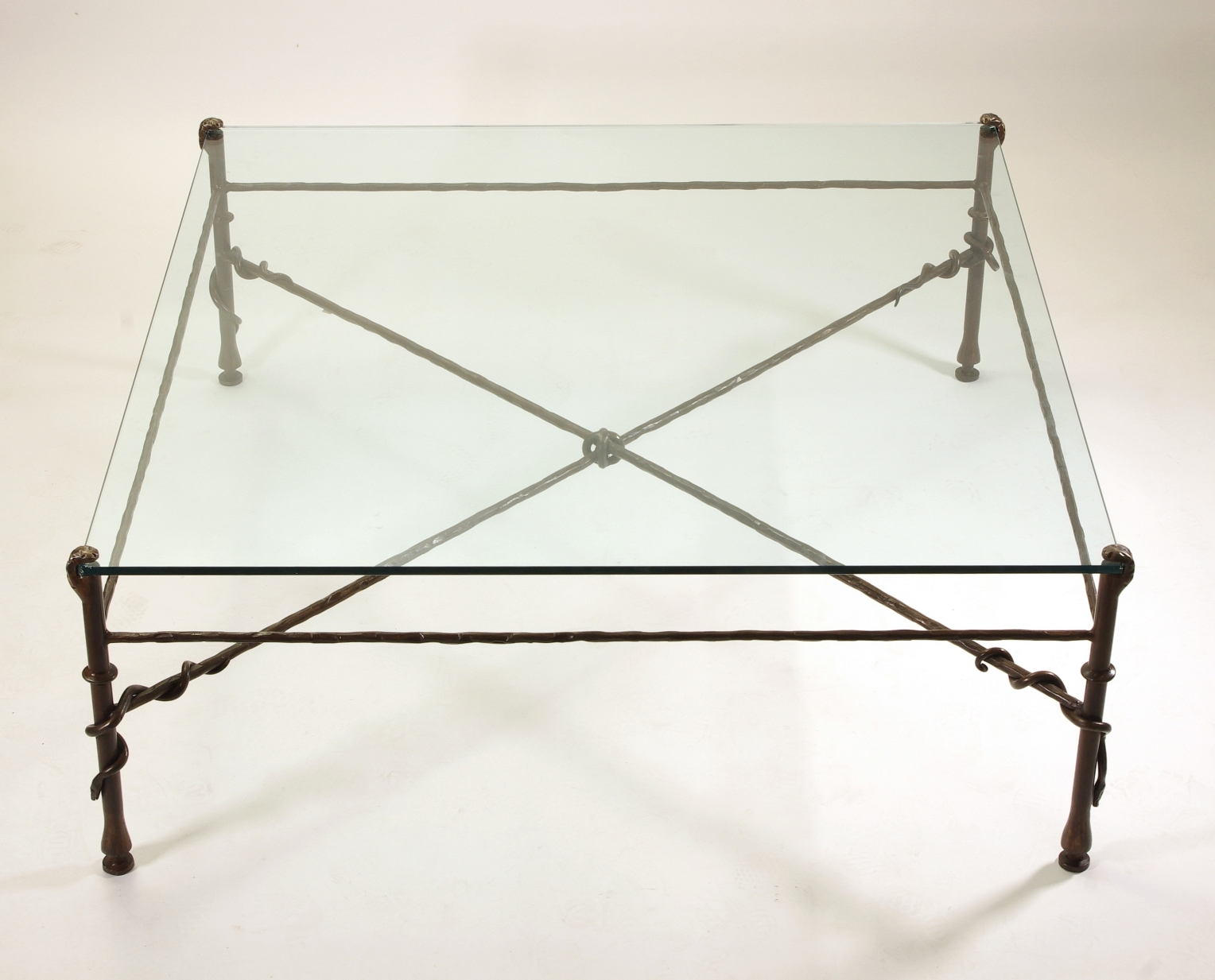 View 2: Giacometti Inspired Wrought Iron and Glass Coffee Table