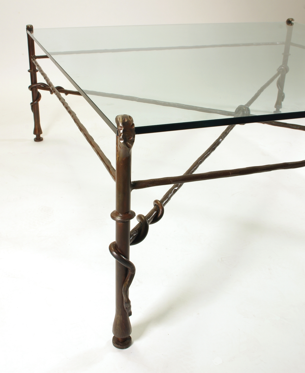 Giacometti Inspired Wrought Iron and Glass Coffee Table