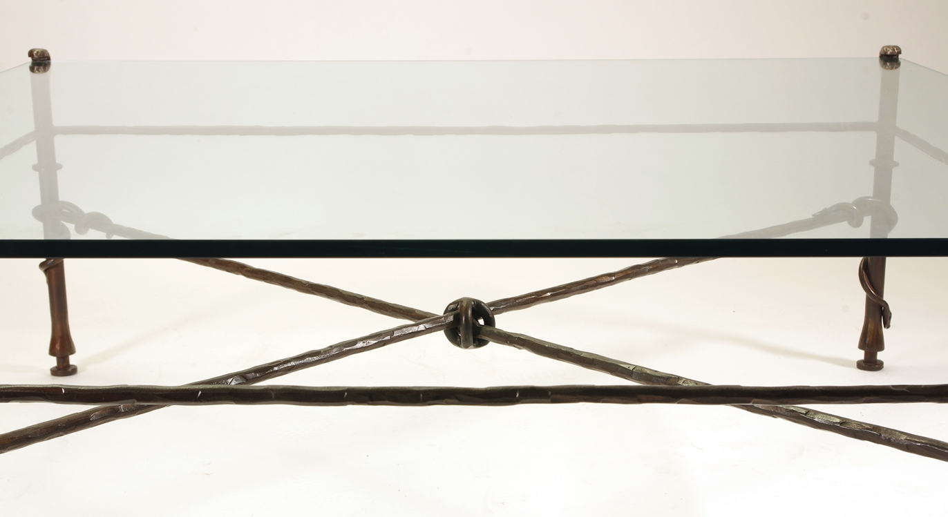 View 6: Giacometti Inspired Wrought Iron and Glass Coffee Table