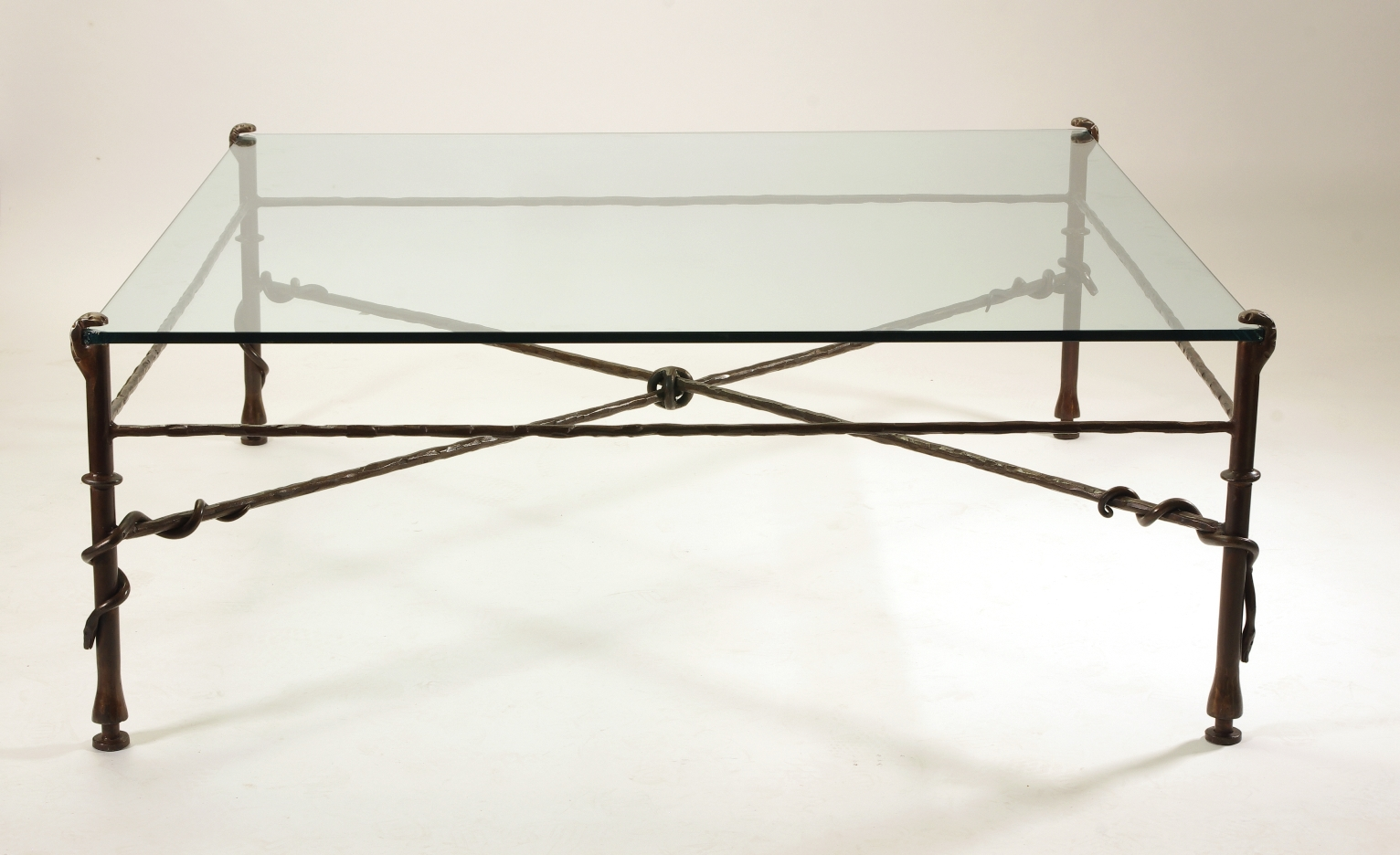 View 7: Giacometti Inspired Wrought Iron and Glass Coffee Table