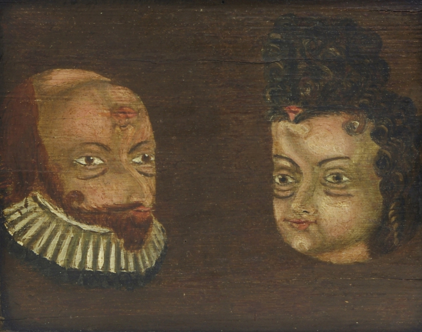 Folk Art Trompe l'Oeil Double Portrait, c. 1780-90