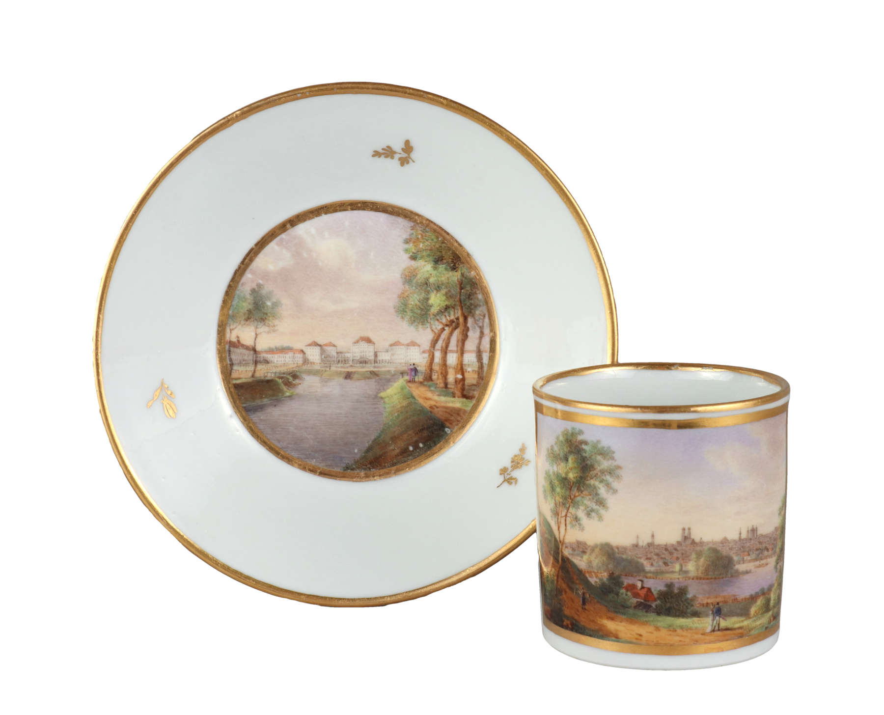German Porcelain Topographical Cup and Saucer, c. 1800