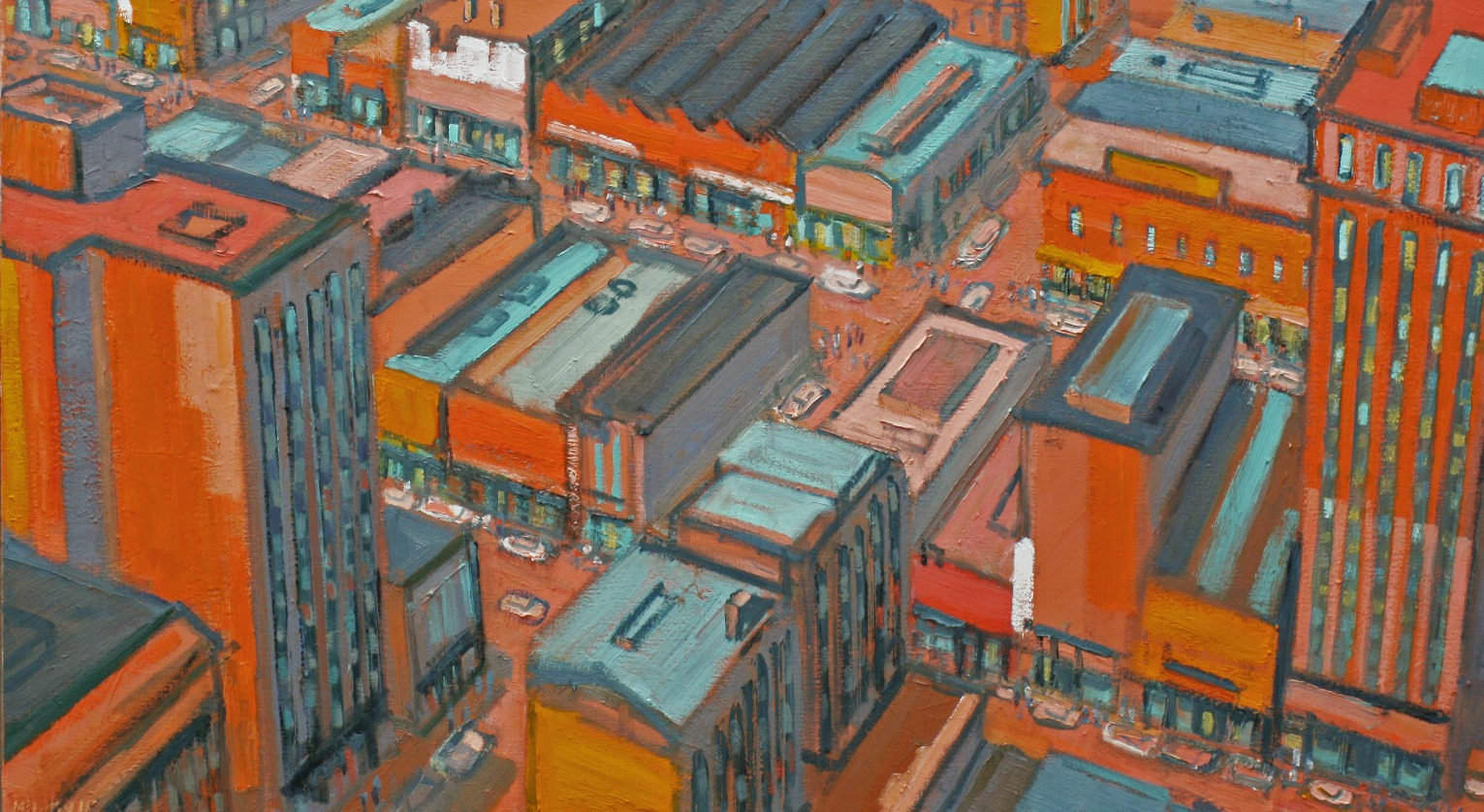 "City in Orange and Green  32"" x 58"""