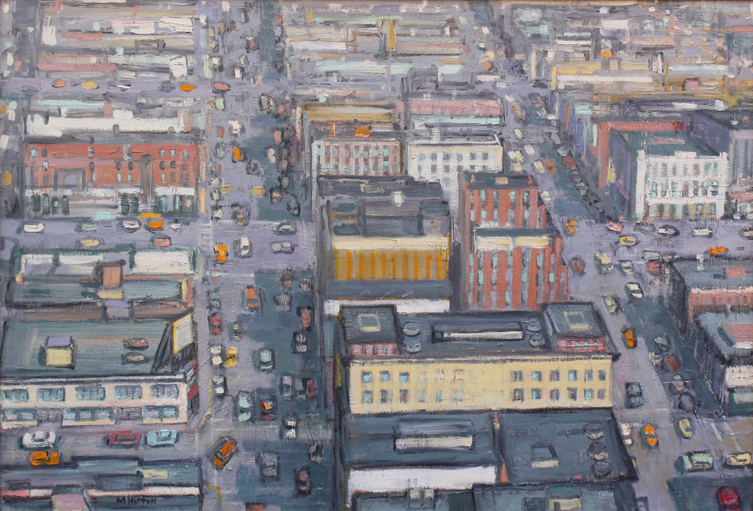 "Aerial View, City Hotel 36"" x 50"""
