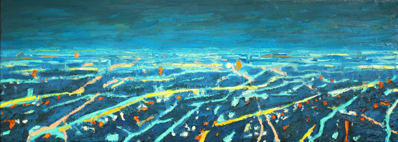 "Aerial View of City Horizon at Night  18""x50"""