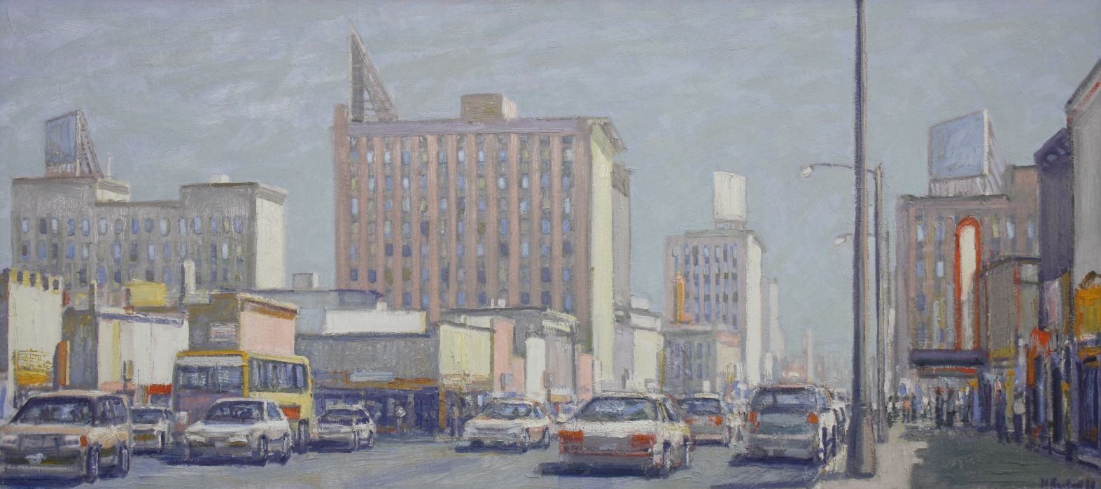"Busy City Street at Mid-Day 26"" x 58"""